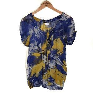 Calvin Klein Sheer Blue and Yellow Silk Blouse